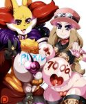 artist_name big_breasts body_writing bracelet breast_press breasts_press candy collar covered_nipples delphox heart heart-shaped_pupils heart_pasties huge_breasts large_breasts looking_at_viewer nipples number pasties patreon patreon_logo piercing piercings pixiv pokemon pokemon_(game) pokemon_xy ring serena serena_(pokemon) signature smile symbol-shaped_pupils teddy_jack v