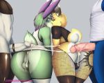 4boys ass balls blue_eyes bunny_ears cock_ring cum ears erect femboy furry green_eyes kiss kissing looking_at_viewer male penis rabbit tail thighhighs trap