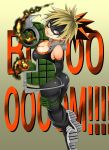 10s 1girl adahcm ass bakugou_katsuki bare_shoulders big_breasts blonde_hair bodysuit boku_no_hero_academia boots breasts cleavage crazy crazy_eyes crazy_smile elbow_gloves fire from_behind genderswap gloves grin long_hair looking_at_viewer matching_hair/eyes multicolored_hair my_hero_academia orange_eyes orange_hair pants ponytail shiny shiny_clothes shiny_skin sideboob smile spiked_hair tight tight_pants
