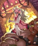 1girl armband assertive bdsm bestiality blue_eyes bowser breasts censored chains claws collar corset cowgirl_position earrings elbow_gloves erotibot femdom fire garter_straps girl_on_top gloves interspecies jewelry lipstick long_hair makeup mario_(series) mosaic_censoring nipples piercing pinky_out princess_peach pubic_hair sex smile stockings straddling super_mario_bros. vaginal wavy_hair whip window wristband