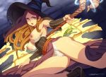 1girl alternate_breast_size armpits bare_shoulders big_breasts bow bow_panties breasts breasts_outside brown_hair cameltoe detached_sleeves dragon's_crown dress erotibot frog hat lingerie long_hair looking_at_viewer magic nipples open_mouth panties sorceress_(dragon's_crown) staff strapless strapless_dress tears underwear white_panties witch_hat
