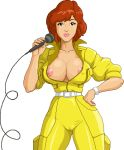 april_o'neil breasts clothed exposed_breasts jumpsuit microphone teenage_mutant_ninja_turtles warnerc