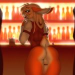 1_anthro 1_boy 1_male alcohol anthro anthro_only balls beverage bottomless chococosalo clothed clothing cock_ring erection furry hair high_res humanoid_penis indoors lagomorph long_hair looking_at_viewer looking_back male male_anthro male_only mammal penis rabbit smile standing testicles thick_thighs