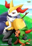 ass barefoot bbmbbf braixen breast chespin looking_at_viewer nintendo palcomix pokemon pokepornlive pussy pussy_juice pussy_juice_string pussylicking soles toes