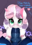 <3 <3_eyes 1girl 2017 absurd_res aged_up animal_genitalia animal_penis anthro anthrofied areola balls big_breasts blush breasts chained dialog dialogue dickgirl dickgirl/female duo english_text equine equine_penis eyelashes fellatio fladdykin friendship_is_magic furry green_eyes high_res horn intersex intersex/female kneel looking_at_partner looking_up mammal multicolored_hair my_little_pony nipples nude oral oral_penetration penetration penis pov sex solo_focus sweetie_belle_(mlp) text two_tone_hair unicorn vein veiny_penis