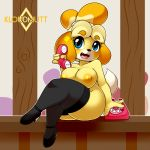 1girl 2017 3_fingers animal_crossing anthro areola black_nose blue_eyes breasts canine clothing crossed_legs dog footwear furry high_res holding_object holding_phone isabelle_(animal_crossing) kloudmutt legwear looking_at_viewer mammal nintendo nipples open_mouth phone shih_tzu sitting stockings video_games