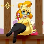 1girl 1girl 2017 animal_crossing anthro areola black_nose blue_eyes breasts canine clothing crossed_legs dog eyewear footwear furry glasses hair high_res holding_object holding_phone isabelle_(animal_crossing) kloudmutt legwear looking_at_viewer mammal nintendo nipples open_mouth phone shih_tzu shoes sitting video_games