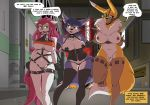 3_anthros 3_females 3_girls anthro anthro/anthro anthro_only bdsm blue_hair breasts canine clothed clothing collar corset dialogue digimon domination english_text feline female female/female female_anthro female_domination female_only fox furry gag group group_sex hair hands_behind_back jenny krystal lingerie long_hair makeup mammal mostly_nude multiple_girls muzzle_(disambiguation) navel nintendo nipple_tape nipples outdoors pasties pink_hair pussy renamon ring_gag sex smile speech_bubble standing star_fox tape text threesome underwear vibrator_in_pussy video_games walking wide_hips yawg