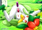 anal anal_penetration bbmbbf breast dildo double_penetration female lilligant looking_at_viewer masturbation nintendo nude palcomix pokemon pokepornlive pussy spread_legs vaginal vaginal_penetration video_games