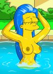 breasts closed_eyes marge_simpson nipples swimming_pool the_simpsons topless