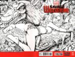 ass comic_cover dinosaur garrett_blair garrett_blair_(artist) gb2k jungle marvel monochrome reclining savage_land shanna shanna_the_she-devil signature tagme tree_branch