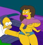 1girl ashley_grant duo homer_simpson huge_breasts human male maxtlat nipples the_simpsons yellow_skin