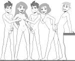 2girls 3guys ann_possible ass ass_grab barefoot breast_grab breasts disney from_behind grown_up incognitymous_(artist) jim_possible kim_possible kimberly_ann_possible long_hair looking_at_viewer milf monochrome navel nipples nude penis penis_grab pussy ron_stoppable short_hair sideboob smile tim_possible twins vaginal_penetration white_background