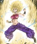 10s 1girl amania_orz aura baggy_pants bare_shoulders big_breasts blonde_hair breasts caulifla crop_top dated dragon_ball dragon_ball_super electricity green_eyes grin impossible_clothes midriff navel pants purple_pants smile spiked_hair super_saiyan super_saiyan_2 tubetop twitter_username wristband