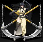 big_breasts black_hair breasts cleavage female kusarigama nakatsukasa_tsubaki purple_eyes solo soul_eater tsubaki_nakatsukasa waifuholic weapon