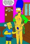 areolae artist_name bart_simpson blue_hair blue_pubic_hair blue_shirt breasts cosmic_(artist) english_text erection erection_under_clothes marge_simpson nipples panty_pull pubic_hair shirt speech_bubble text the_simpsons thought_bubble yellow_skin
