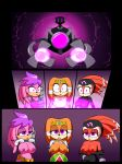 1girl 2017 anthro areola belt big_breasts bodysuit bracelet breasts clothed clothing comic dr._chaos fur furry gloves glowing glowing_eyes hair half-closed_eyes headband high_res hypnosis jewelry julie-su machine mind_control necklace nipples open_mouth orange_fur partially_clothed pink_fur purple_eyes red_fur sega shade_the_echidna skinsuit tight_clothing tikal_the_echidna undressing