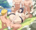 1girl 3boys breasts cum cyberunique handjob hinata_hyuuga multiple_boys naruto naruto_uzumaki nipples nude oral penis pussy sex thighs uncensored vaginal