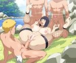 1girl 3boys barefoot breasts cyberunique feet handjob hinata_hyuuga multiple_boys naruto naruto_uzumaki nipples nude oral penis pussy sex soles thighs toes uncensored vaginal