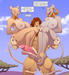 1girl anthro big_breasts big_feet breasts cloud cum erection feet_on_balls feline foot_fetish footjob furry green_eyes group group_sex incest lion male male/female mammal milf mother_&_son parent sex son threesome zp92