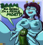 1girl alien blue_skin breasts hentai_boy lip_bite masturbation nude pickle pickle_rick pussy rick_and_morty rick_sanchez unity