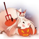 1girl 1girl anthro big_breasts breasts canine dialogue english_text eyewear food fruit furry glasses kneel looking_at_viewer mammal nude pumpkin sketch smile suggestive text voluptuous yogoat