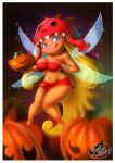 1girl 1girl 1girl 2017 blonde_hair blue_eyes breasts candy edith_up fernando_faria_(artist) flying food freckles halloween jack-o'-lantern long_hair nymph pumpkin rayman rayman_origins sexy shiny shiny_skin skirt smile wide_hips wings