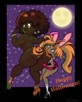1girl 2017 2_girls afro bikini bite bitting bodypaint bracelet breasts brown_eyes brown_hair bunny_ears ear_rings elf female_only fingerless_gloves full_moon funny gloves green_eyes green_lipstick halloween high_heel human jack-o'-lantern moon orange_hair paint pointy_ears prank pumpkin school_uniform sexy shiny shiny_skin skull thong wide_hips
