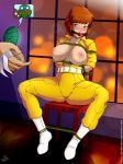 april_o'neil breasts_outside leonardo raphael shredder stormfeder teenage_mutant_ninja_turtles tied_up