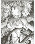 arthur_adams black_and_white princess_ariel sexy the_little_mermaid topless ursula