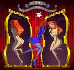 ass breasts daphne_blake dress hairband mirror nipples panties red_hair scooby-doo stockings thighs