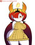 big_breasts ck_draws_stuff hekapoo insanely_hot looking_at_viewer red_hair star_vs_the_forces_of_evil virgin_killer_sweater white_skin yellow_eyes