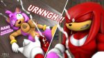 amy_rose breasts clenched_teeth cum cum_on_face cumshot dialogue facial green_eyes gritted_teeth knuckles_the_echidna moorsheadfalling nipples penis sega sonic source_filmmaker