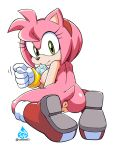 1girl 1girl amy_rose anus areola asking_for_it ass boots bracelet breasts condom_in_mouth coolblue eyelashes fig_sign gloves green_eyes hairband hedgehog kneel looking_at_viewer looking_back mostly_nude nipples pussy rear_view sega smile