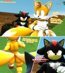 "anthro ass blue_eyes butt_crack comic dialogue duo male male/male male_only miles_""tails""_prower moorsheadfalling red_eyes running sega shadow_the_hedgehog sonic source_filmmaker text"