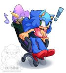 ! anthro blush chair clothing crossgender cuisine espio_the_chameleon footwear furry high_heels miniskirt musical_note office office_lady sega shoes simple_background skirt smile sonic_the_hedgehog surprise upskirt watermark white_background