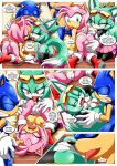 1boy 2017 2girls amy_rose anus areolae ass bent_over breasts comic fellatio female male mobius_unleashed nipples palcomix panties pussy sega sonar_the_fennec sonic_the_hedgehog