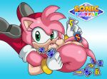 1girl amy_rose anus areola ass boots bracelet breasts erect_nipples eyelashes flexible furry gloves green_eyes hairband hedgehog highres legs_over_head looking_at_viewer mostly_nude object_in_mouth on_back presenting_pussy sega smile sonic_shuffle sonictopfan vaginal_penetration