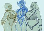 3girls alphys boss_monster cleavage eichh-emmm toriel undertale undyne