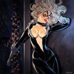 black_cat bodysuit breasts clothed exposed_breasts felicia_hardy marvel marvel_comics spider-man tarusov_(artist) white_hair