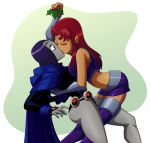 alien christmas dc_comics kissing lesbians_kissing mistletoe purple_hair raven_(dc) ravenravenraven red_hair starfire yuri