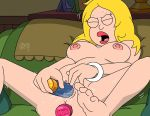 american_dad dildo_in_ass dildo_in_pussy francine_smith legs_apart masturbation nude orgasm orgasm_face shaved_pussy sweat