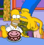 breasts erect_nipples homer_simpson kissing marge_simpson the_simpsons topless wvs