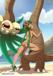 1girl alolan_exeggutor alolan_pokemon ass beach exeggutor green_hair humping long_hair mallow mallow_(pokemon) mao_(pokemon) nude one_leg_up open_mouth outside pokemon pokemon_sm pokephilia pokepornlive pussy pussy_juice sideboob twintails