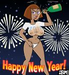 2018 breasts danny_phantom looking_at_viewer madeline_fenton new_year tsmdraws wet_shirt wine_bottle