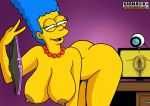 ass erect_nipples huge_breasts marge_simpson nude panties_removed pubic_hair pussy the_simpsons thighs webcam
