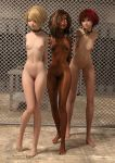 3_girls 3d arms_behind_back blonde_hair bondage breasts collar dark-skinned_female dark_skin femsub leash linked_collar multiple_girls multiple_subs nude red_hair rope satsukihime1031_(artist) watermark