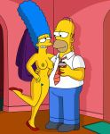 breasts grin homer_simpson legs_up marge_simpson nipples nude pubic_hair the_simpsons thighs wvs