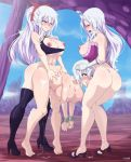 3_girls ass big_breasts blue_eyes blush fairy_tail fellatio from_behind futanari gloves herchi high_heels hot lisanna_strauss long_hair mirajane_strauss nipples nude penis semen sex sexy short_hair smile white_hair yuri