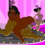 3_girls all_fours amy_wong big_ass big_breasts breasts futurama girl_on_top interracial manjula_nahasapeemapetilon pussy pyramid_(artist) sitting_on_person stripper_pole swim_suit the_simpsons titania_(the_simpsons) yuri